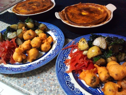Curry Pies & Sprout Bhaji