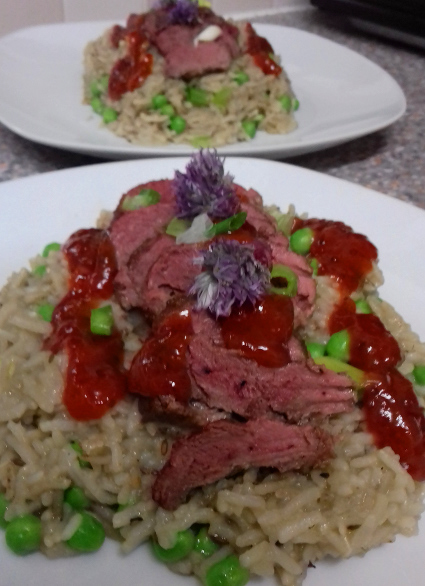 Fragrant Duck Breasts with Plum sauce and Basmati Risotto
