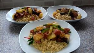Smoked Sausage, Marrow and Gourd stir-fry recipe