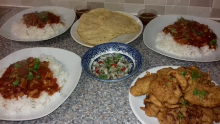 Turkey Thigh Jalfrezi Curry with Home Made Onion Bhajis recipe