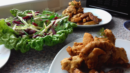 Turkey Nuggets, Potato wedges and foraged salad